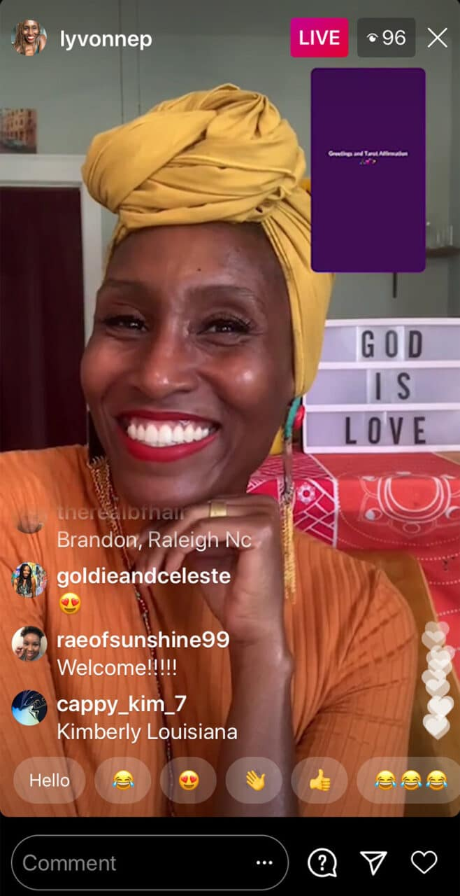 The Rev. Lyvonne Proverbs Briggs while streaming on Facebook Live. Screenshot