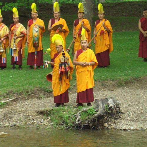 Tibetan Buddhists dispersal of sands after destruction of a mandala